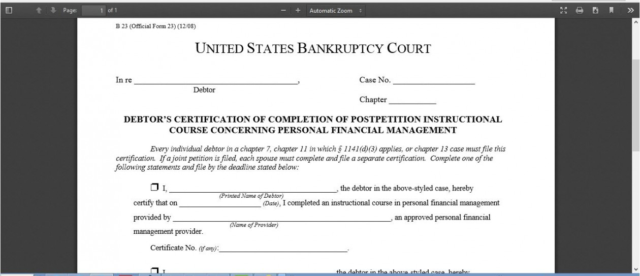 WHAT IS FORM 23 IN BANKRUPTCY? | Bankruptcy form 23